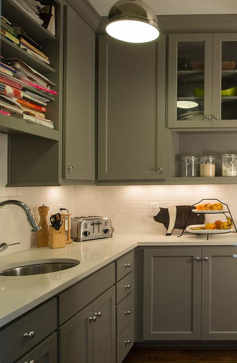 Amazing Butleru0027s Pantry Features Gray Shaker Cabinets Paired With White  Quartz Countertops And A White Subway Tiled Backsplash. Profile Cabinet