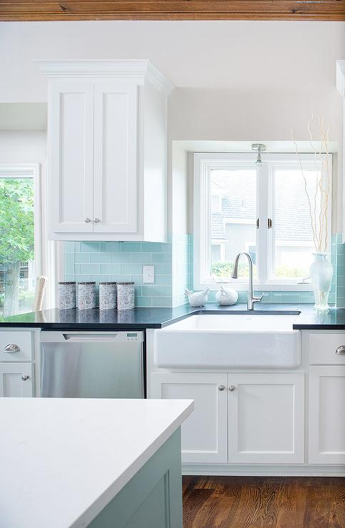 Tiffany Blue Subway Tile Backsplash - Transitional - Kitchen