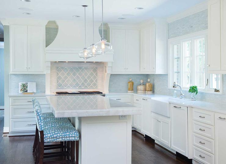 White quartz countertops stainless steel oven and for White and blue kitchen ideas