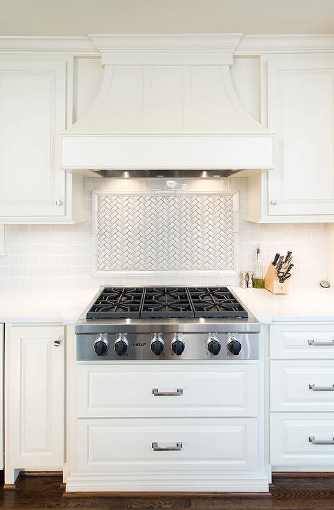 White Herringbone Cooktop Tile Backsplash Transitional Kitchen