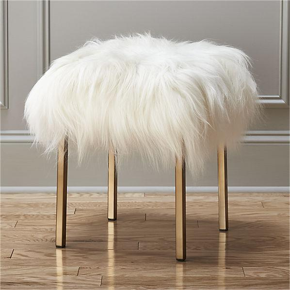 Beige Massoud Winston Sheepskin Stool