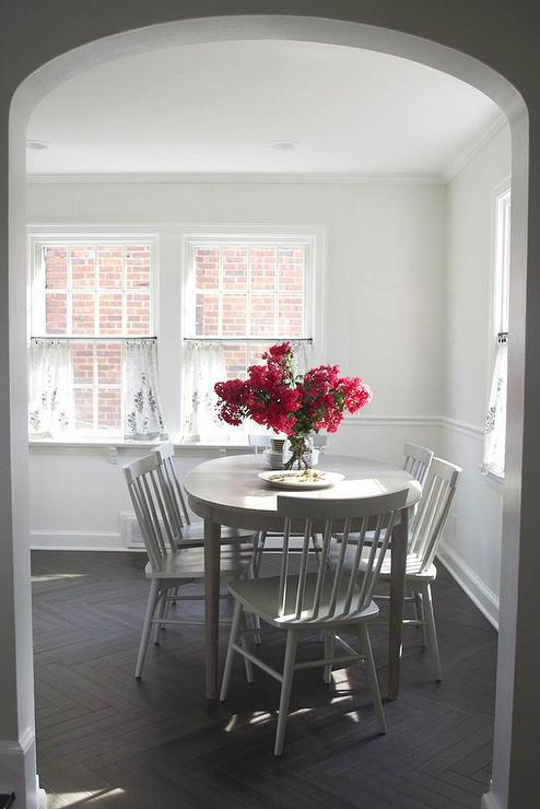Gray Oval Dining Table with Gray Dining Chairs - Transitional ...