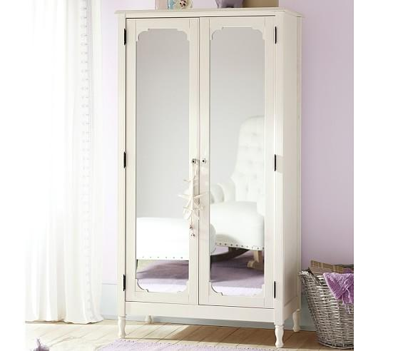 Weathered white montpellier armoire for Armoire penderie chambre