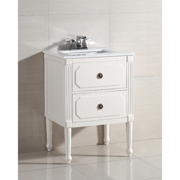 dubois 24-inch white bath vanity with white quartz marble top