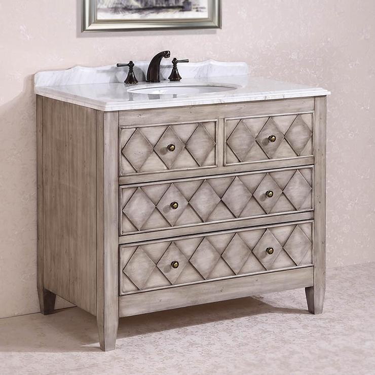 Legion Furniture Volakas Antique Light Grey White Marble Top 40 Inch Single  Sink Bathroom Vanity