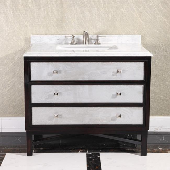 carrera white marble top 36-inch single sink brown bathroom vanity