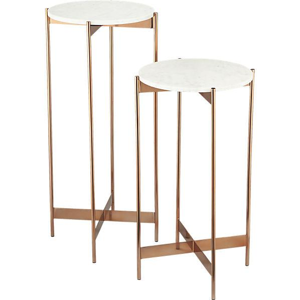Marble Rose Gold Pedestal Tables