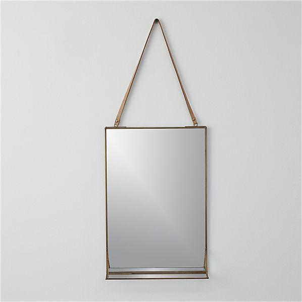 Leather strap hanging mirror by two 39 s company for Hanging mirror