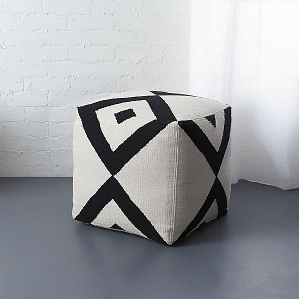 Nuloom Handmade Casual Living Square Black And White Ottoman Pouf