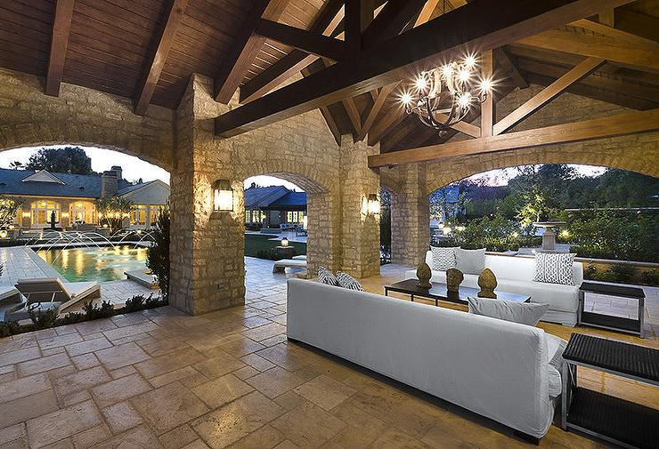 Covered Patio With Stone Pillars