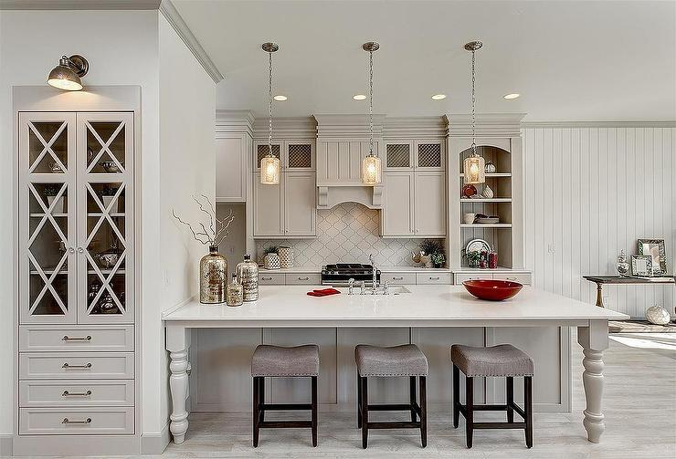 Superb Light Gray Kitchen Cabinets With Arabesque Tile Backsplash