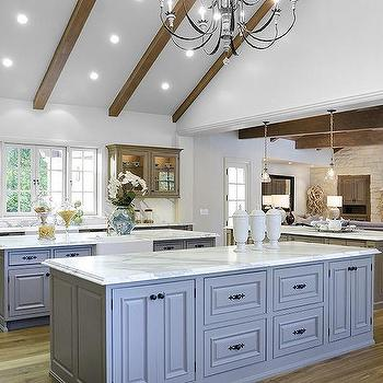 Kitchen With Two Gray Islands