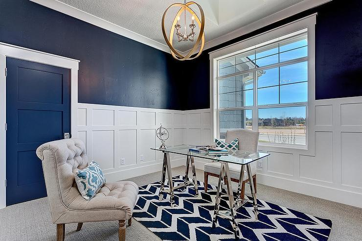 view full size white and navy home office features chic home office features