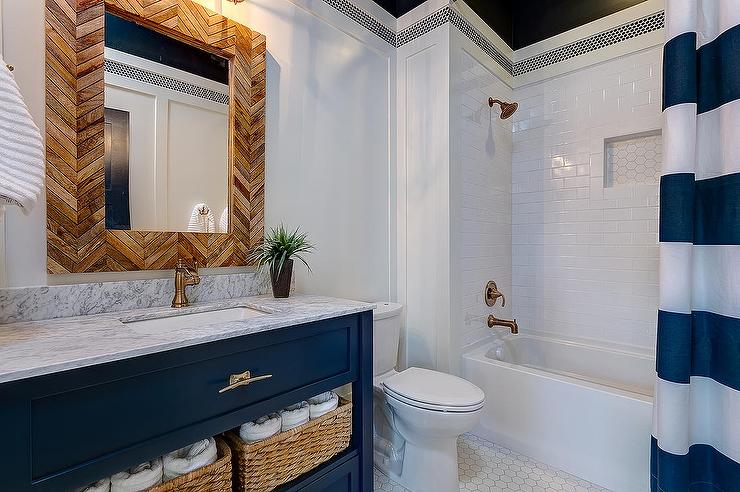 Blue Bathroom Vanity With Gold Hardware Transitional Bathroom