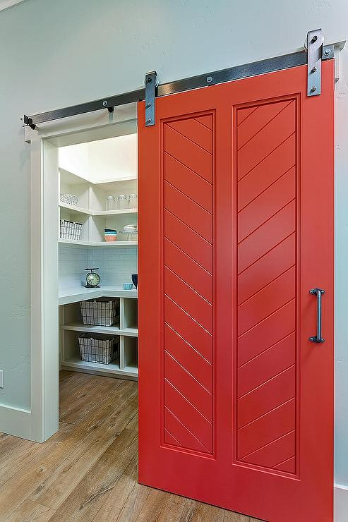 Red Barn Pantry Door Transitional Kitchen