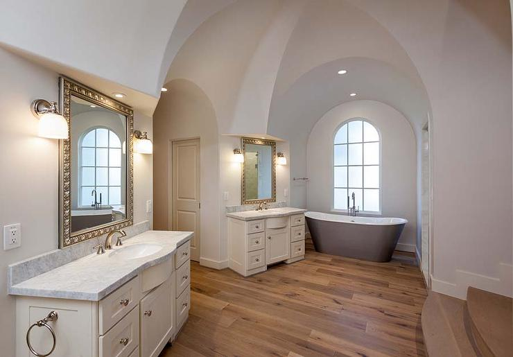 Arched Alcove with Gray Cast Iron Tub