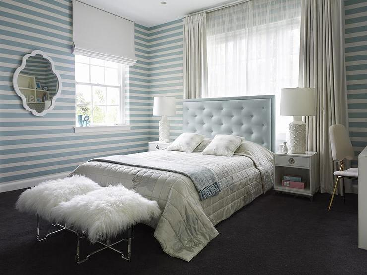 baby blue tufted headboard blue horizontal striped walls acrylic stool