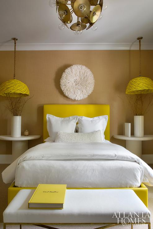 yellow and brown bedrooms contemporary bedroom
