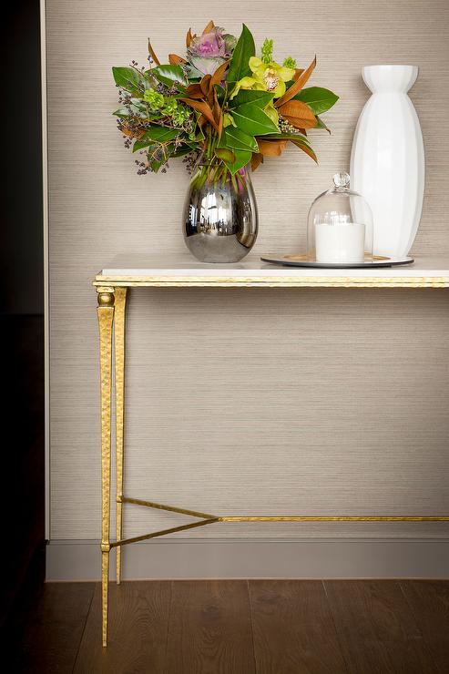 Foyer Table Base : Brass and marble foyer table transitional entrance