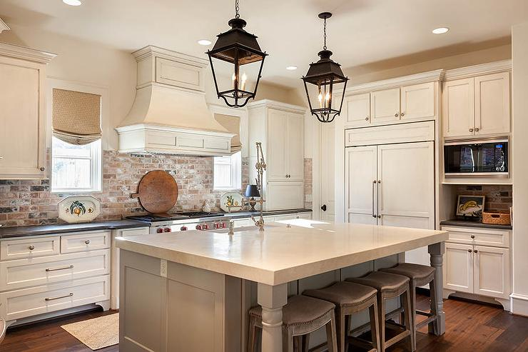 Kitchen With Red Brick Backsplash Cottage