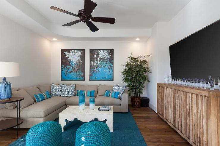 Superieur Gray And Turquoise Blue Living Rooms