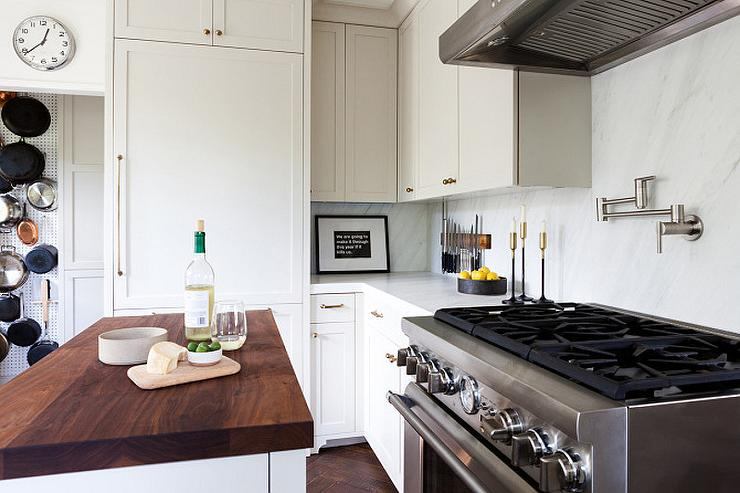 Light Grey Shaker Cabinets With Antique Brass Knobs Transitional - Light grey kitchen cabinets with black island