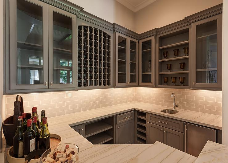 Wet Bar Sink with Stainless Steel Mini Fridge - Transitional - Kitchen