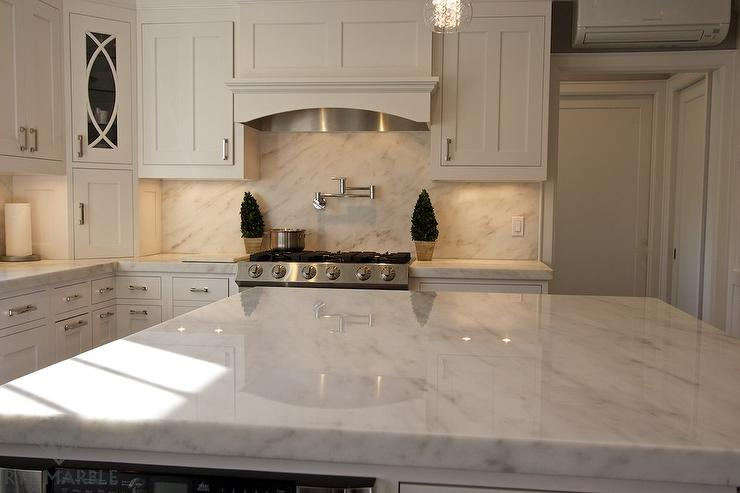 Arabescato Danby Marble Slab Kitchen Backsplash - Transitional ... - kitchen counter marble