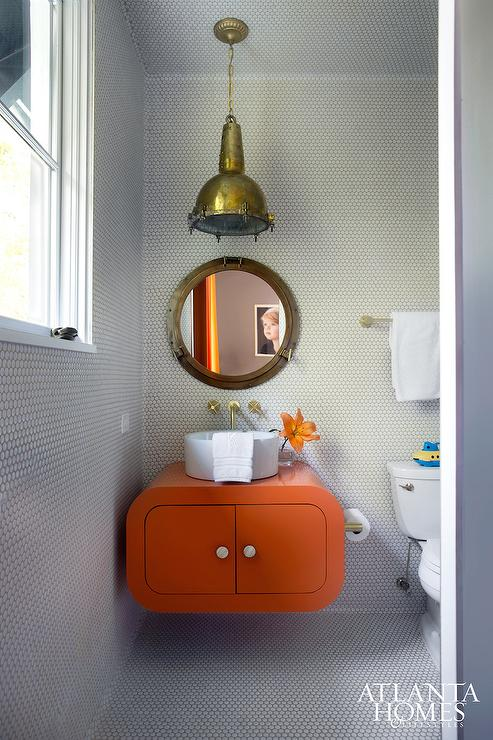 Gray and orange kids bathroom contemporary bathroom for Orange and grey bathroom accessories