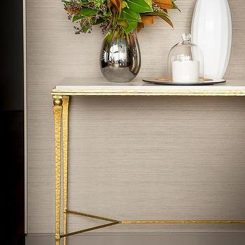 Superior Brass And Marble Foyer Table