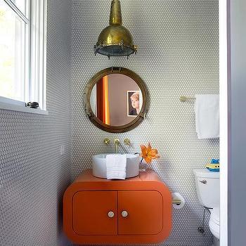 Gray and Orange Kids Bathroom