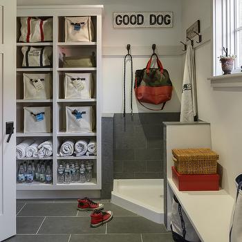 Mudroom With Corner Dog Shower