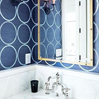 Bathrooms grasscloth wallpaper design ideas for Navy blue and gold bathroom accessories