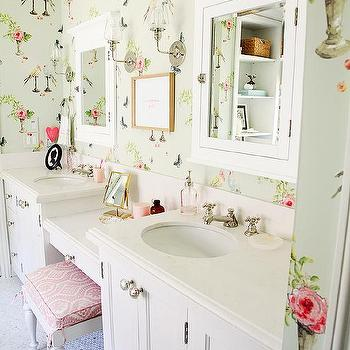 . Shabby Chic Kids Bathroom Wallpaper Design Ideas