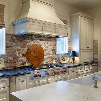 Kitchen With Red Brick Backsplash Cottage Kitchen