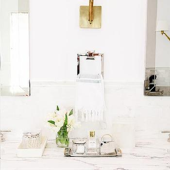 White Vanity With Brass Hardware Design Ideas - Antique brass bathroom sconces