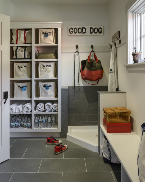 Mudroom With Corner Dog Shower Contemporary Laundry Room