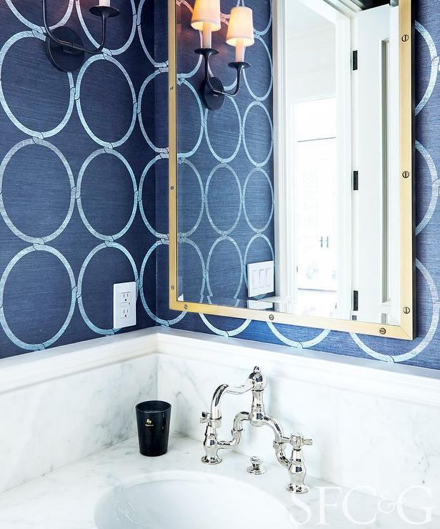 Navy Grasscloth Wallpaper: Navy Vanity Design Ideas