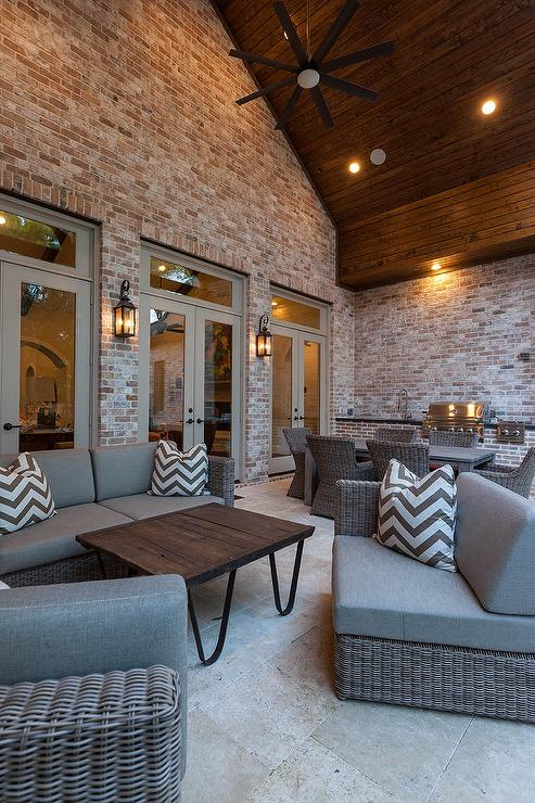 Long Covered Patio With White Beadboard Ceiling