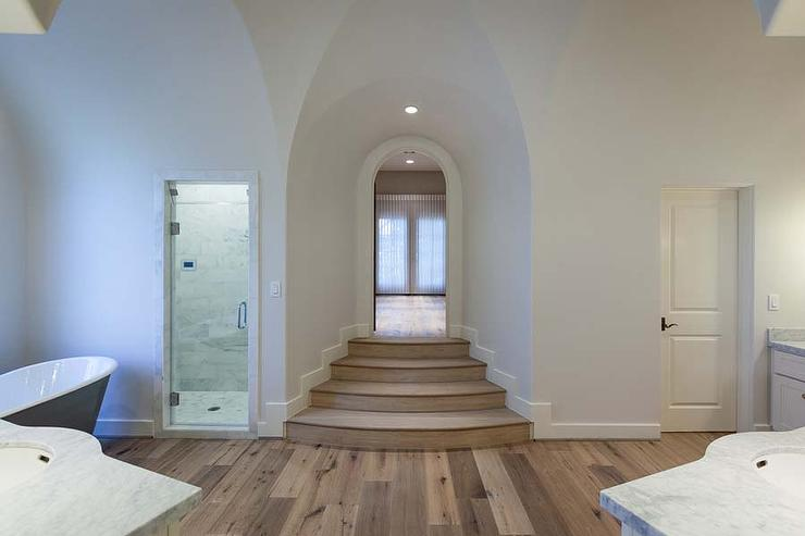 Master bathroom walk in shower design ideas for How to build a sunken bathtub