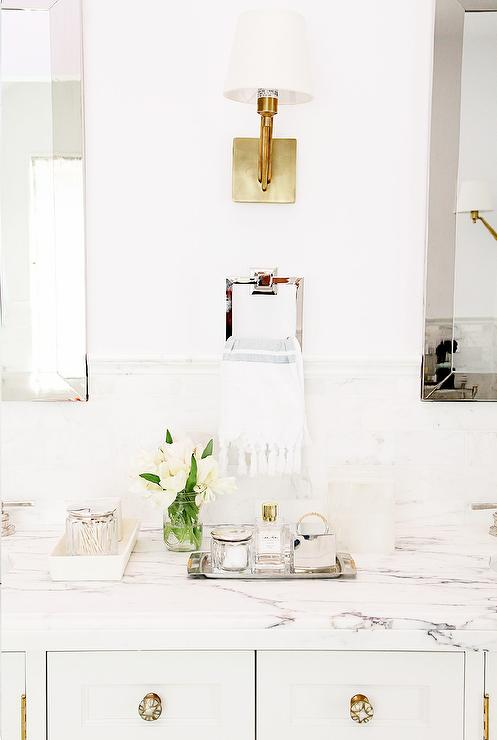 White Double Vanity With White Marble Countertop