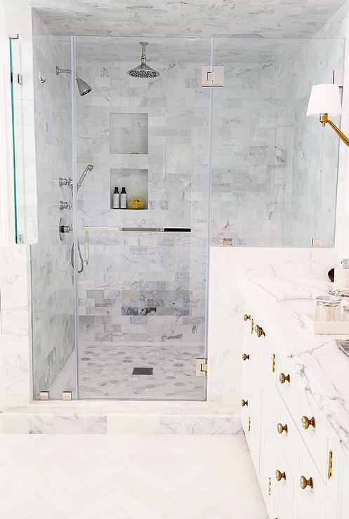 Gray Marble Tiled Shower Ceiling Transitional Bathroom