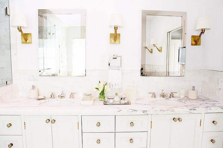 White Bathroom Vanity With Glass And Brass Knobs