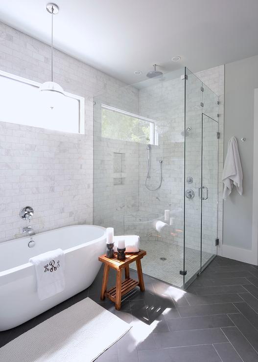 Above The Freestanding Tub Pendant Transitional Bathroom