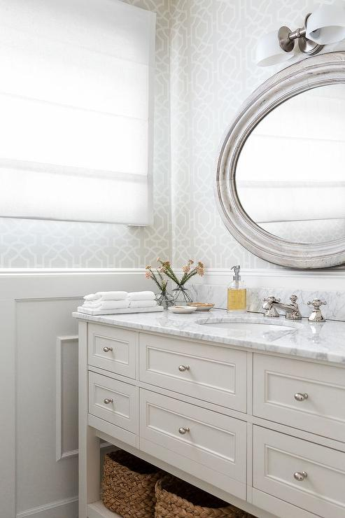 Bathroom with gray trellis wallpaper and wainscoting for Gray bathroom wallpaper