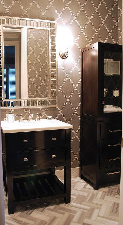 Lovely Bathroom With Grey Moroccan Tile Wallpaper Lined With An Espresso  Washstand And A Mirror Tiled Mirror Beside A Glass Linen Cabinet Atop The  Marble ...