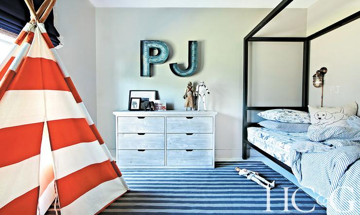 Kids Room With Red Striped Teepee Cottage Boy S Room