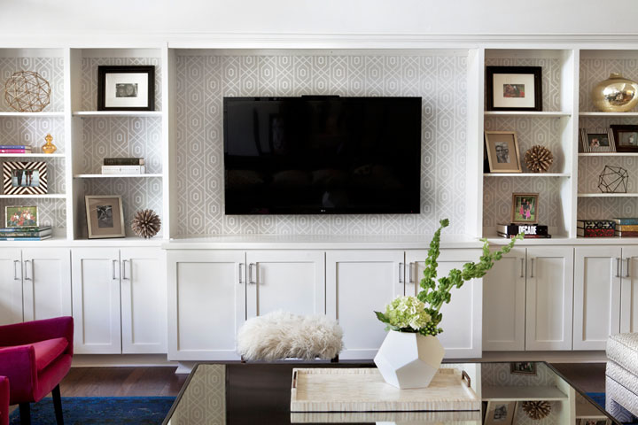 Gray trellis wallpaper on back of built ins transitional Built in shelves living room
