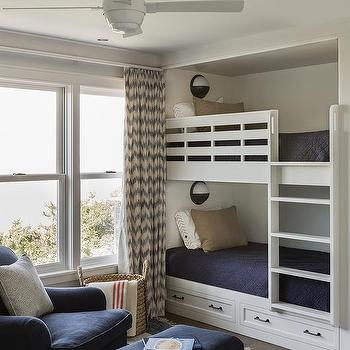 Built In Bunk Beds With Nautical Wall Sconces