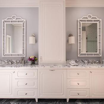 White And Gray Bathroom With Gray Herringbone Floor